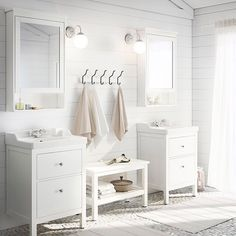 Treat your #bathroom to a complete transformation. White HEMNES bath furniture & neutral linens will make it feel like a spa!