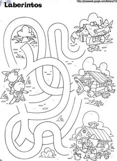 Mazes For Kids, Indoor Activities For Kids, Animal Coloring Pages, Colouring Pages, Maze Puzzles, Traditional Stories, Kindergarten, Printable Numbers, Three Little Pigs