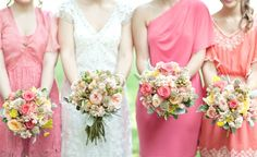 Indiana Rustic Wedding At Highpoint Orchard & Winery - Rustic Wedding Chic Bridesmaid Dresses Different Colors, Mismatched Bridesmaid Dresses, Wedding Dresses, Wedding Flowers, Wedding Bells, Wedding Bouquets, Coral Bridesmaids, Bridesmaid Bouquets, Rustic Wedding