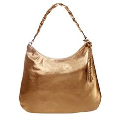 Bolsa trança couro metalizado ouro velho - Amo Muito - $289.00