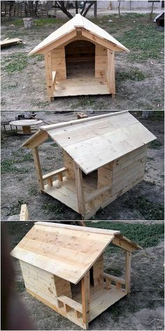 Bring home this wonderful creation of the wood pallet designed piece of the pet house. It look awesome in majestic […] Wood Dog House, Pallet Dog House, Dog House Plans, Dog House With Porch, Large Dog House, Woodworking Projects Diy, Diy Pallet Projects, Wood Projects, Woodworking Workshop