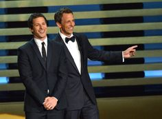 Pin for Later: Relive the Best Moments From the 2014 Emmys  Andy Samberg and Seth Meyers joked around on stage.