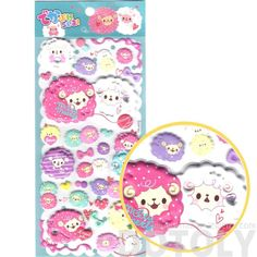Super Puffy Girly Llama Sheep Animal Shaped Stickers for Scrapbooking in Pink