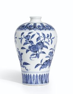 A fine and rare blue and white 'Fruit' meiping, Ming dynasty, Yongle period