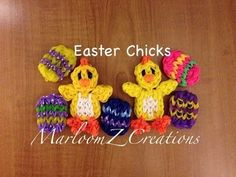 Rainbow Loom EASTER CHICK charm. Designed and loomed by MarloomZ Creations. click photo for YouTube tutorial. 04/16/14.