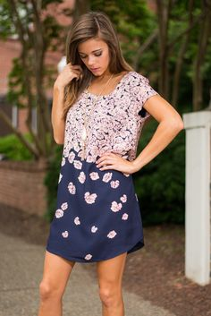 Falling For Floral Dress, Navy-Pink - The Mint Julep Boutique