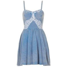 TOPSHOP DENIM WITH LACE CORSET DRESS | Agnes & Maurice - A Global... ❤ liked on Polyvore featuring topshop