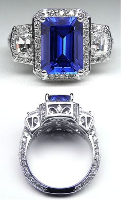 Emerald Cut Blue Sapphire Vintage Design Halo Ring with trapezoids side stones in AMAZING setting.