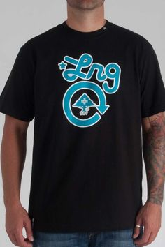 LRG CC One Tee in Black/ Turquoise- $22.00