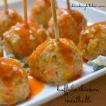 Buffalo Chicken Meatballs- 1 pound lean ground chicken   1 egg   1/2 cup panko breadcrumbs   1 carrot   1 stalk celery   2 green onions   1/2 teaspoon garlic powder   1/4 teaspoon salt   1 ounce crumbled blue cheese   1/2 cup Frank's Hot Sauce (or your favorite), divided   1 tablespoon butter