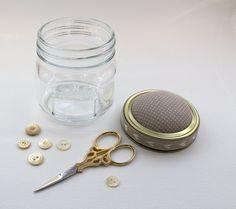 Kilner Pincushion Jar made using Tilda by JayneElizabethCrafts