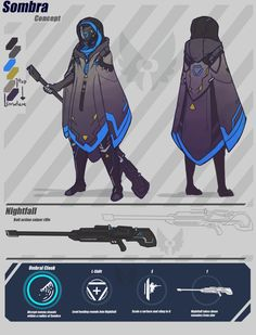 Sombra character design sheet, Overwatch fan art by BlazingCobalt