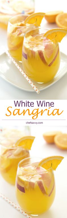 A simple fruity white wine sangria made with oranges, white peaches and fresh squeezed orange juice. Served with a splash of sparkling water. White Wine Sangria, Wine Cocktails, Cocktail Drinks, White Wines, Fancy Drinks, Yummy Drinks, Yummy Food, Sangria Recipes, Drink Recipes