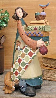 Woman With Quilts Figurine – Everyday Folk Art Figurines & Collectibles – Williraye Studio $38.50