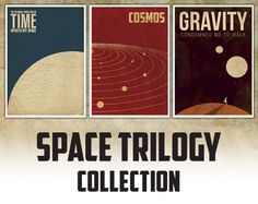 Space Trilogy Set of three posters by pinepixel on Etsy, €20.00