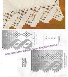 Crochet Boarders, Crochet Lace Edging, Crochet Chart, Thread Crochet, Filet Crochet, Irish Crochet, Diy Crochet, Crochet Doilies, Crochet Stitches