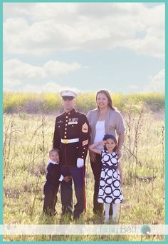 Military Family, Dad in Dress Blues in Open Field. ©Amy Bell Photography