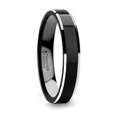 VALENCIA Women's Black Tungsten Promise Ring with Polished Finish and White Tungsten Bevels - 4 mm Tungsten Jewelry, Black Tungsten Rings, Tungsten Wedding Rings, Tungsten Carbide Rings, Cool Wedding Rings, Ring Stores, Womens Wedding Bands, Engraved Rings, Black Rings