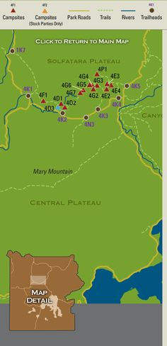 Map showing backcountry campsites in the Solfatara Plateau region of Yellowstone National Park.