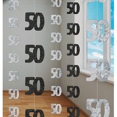 50th Birthday Black Hanging string Decoration