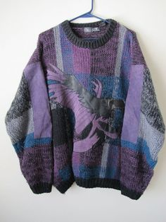 Vintage Eagle bird blue purple funky 80s style sweater leather patches Men's L  #StreetScene #Cardigan