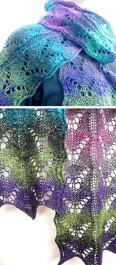 Free Knitting Pattern for Wings of Desire Scarf - This scarf features eyelet lace butterflies and was designed to showcase multicolored yarn. Designed by Susanna IC
