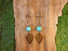 Hammered Brass Harp Earrings with Turquoise by mudbeautiful, $30.00