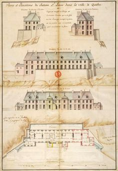 The Château Saint Louis in Quebec (shown here in a 1724 illustration) was the official residence of the Governor General of New France during the tim. French Architecture, Colonial Architecture, Chute Montmorency, Chateau Frontenac, Le Petit Champlain, France 2, French Colonial, Saint Louis, Canadian History
