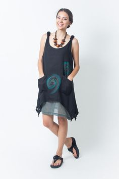 Black Cotton Women short Dress Decorated Shoulder by NaniFashion