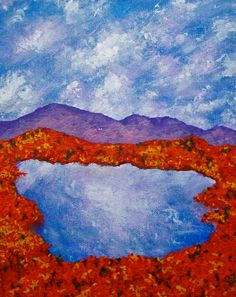 """Autumn In the Adirondacks (ORIGINAL ACRYLIC PAINTING) 8"""" x 10"""" by Mike Kraus adirondack mountains state park pine forest landscape art lake painting rolling hills sky colorful artwork upstate new york nature art beautiful design home decor purple mountain 50.00 USD #goriani"""
