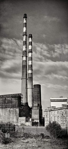 Ireland Black and White Photography : Dublin : Panoramic Photograph Pigeon House : Poolbeg Towers : Dublin : Ireland Other Poolbeg Photographs For more info Love Ireland, Dublin Ireland, Old Pictures, Old Photos, Night Photography, Street Photography, Pigeon House, Dublin City, Willis Tower