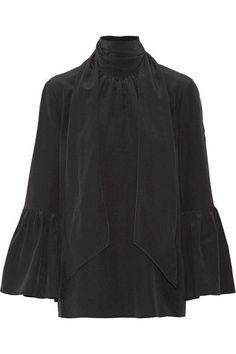 Fendi - Pussy-bow Silk Crepe De Chine Blouse - Black - IT38