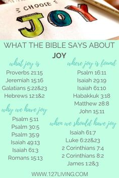 What the Bible says about JOY. 21 scriptures about what joy is, where it is found, why and when we should have it! Visit the blog for practical ways you can choose joy - even when circumstances are hard.