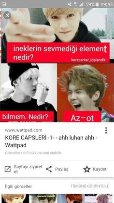 Exo caps Good Sentences, Hunhan, Funny Times, Just Smile, Funny Moments, Funny Photos, Comedy, Entertaining, Kpop