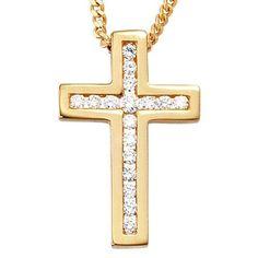 Goldkreuz Kreuz Anhänger mit 17 Brillanten 585 Gold Halsschmuck Damen: Amazon.de: Schmuck