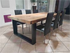 Industrial furniture dining table in solid pine 8 cm + 2 extensions - Dining Room Diy Dining Room Table, Dining Table Makeover, Furniture Dining Table, Dining Room Design, Home Furniture, Furniture Design, Industrial Dining, Industrial Furniture, Industrial Stairs