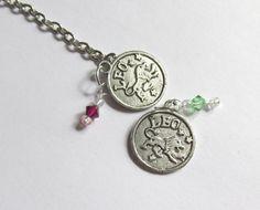 Leo Birthstone Necklace, Zodiac Charm Sun Sign July or Aug Swarovski Birthstone Jewelry, Zodiac Statement Necklace, Astrological Jewelry,