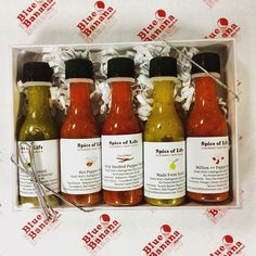 One of our customer favourites, the @spiceoflifeto gift pack, now comes with 5 mini hot sauces #holidaygiftideas