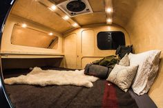 Tough teardrop caravan offers cozy off-road comfort The interior is built using Baltic Birch, multi-layer plywood and water resistant clear coat Teardrop Trailer Interior, Teardrop Camping, Teardrop Caravan, Teardrop Camper Trailer, Diy Camper Trailer, Camper Van, Pod Camper, Camper Caravan, Camper Life