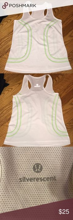 Lululemon silverescent white and green tank Cut the size tag but I believe it was either a 2 or a 4. Lululemon silverescent Oder stopping tanktop. Is white with green stitching EUC lululemon athletica Tops Tank Tops