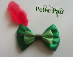 Peter Pan Inspired Disney Hair Bow by littlebowchicdesigns on Etsy, $8.25