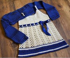 24 patterns in this Crochet Dress Roundup compiled by SimplyCollectibleCrochet.com  |  Dress & Bolero in White and blue for a Girl by Svetlana M.