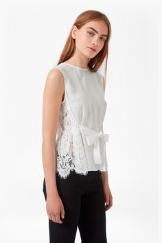 Midnight Plains Tie Up Lace Top | Sale | French Connection Usa