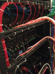 Close up of network installation and cable rack. | Main Equipment ...