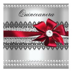 Red Roses Silver Black Quinceanera Invites Photo Invites Black