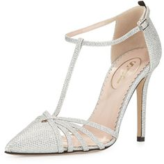 SJP by Sarah Jessica Parker Carrie Sparkle Lamé T-Strap Pump (5.336.435 IDR) ❤ liked on Polyvore featuring shoes, pumps, heels, silver, pointed-toe pumps, sparkly pumps, heels & pumps, pointy-toe pumps and ankle strap high heel pumps