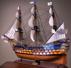 This is a magnificent museum quality model of the Royal Louis. This model is made of wood were added to increase its exotic value. Scale Model Ships, Scale Models, Model Sailing Ships, Model Ship Building, Man Of War, Wooden Ship, Armada, Wooden Boats, Tall Ships
