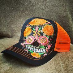 Neon orange sugar skull