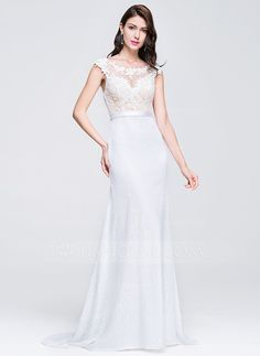 Trumpet/Mermaid Scoop Neck Sweep Train Zipper Up Cap Straps Sleeveless No 2016 Ivory Spring Summer Fall General Plus Lace Prom Dress