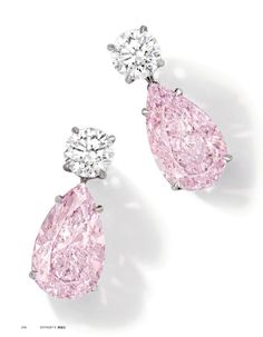 Pink and white diamond earrings.